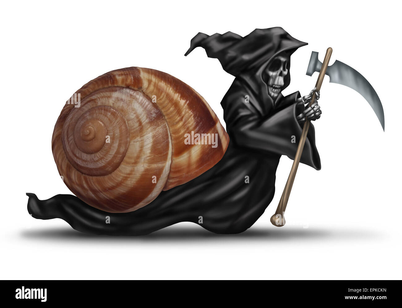Slow aging health care concept as a snail shell with a grim reaper character moving slowly as a health care metaphor Stock Photo