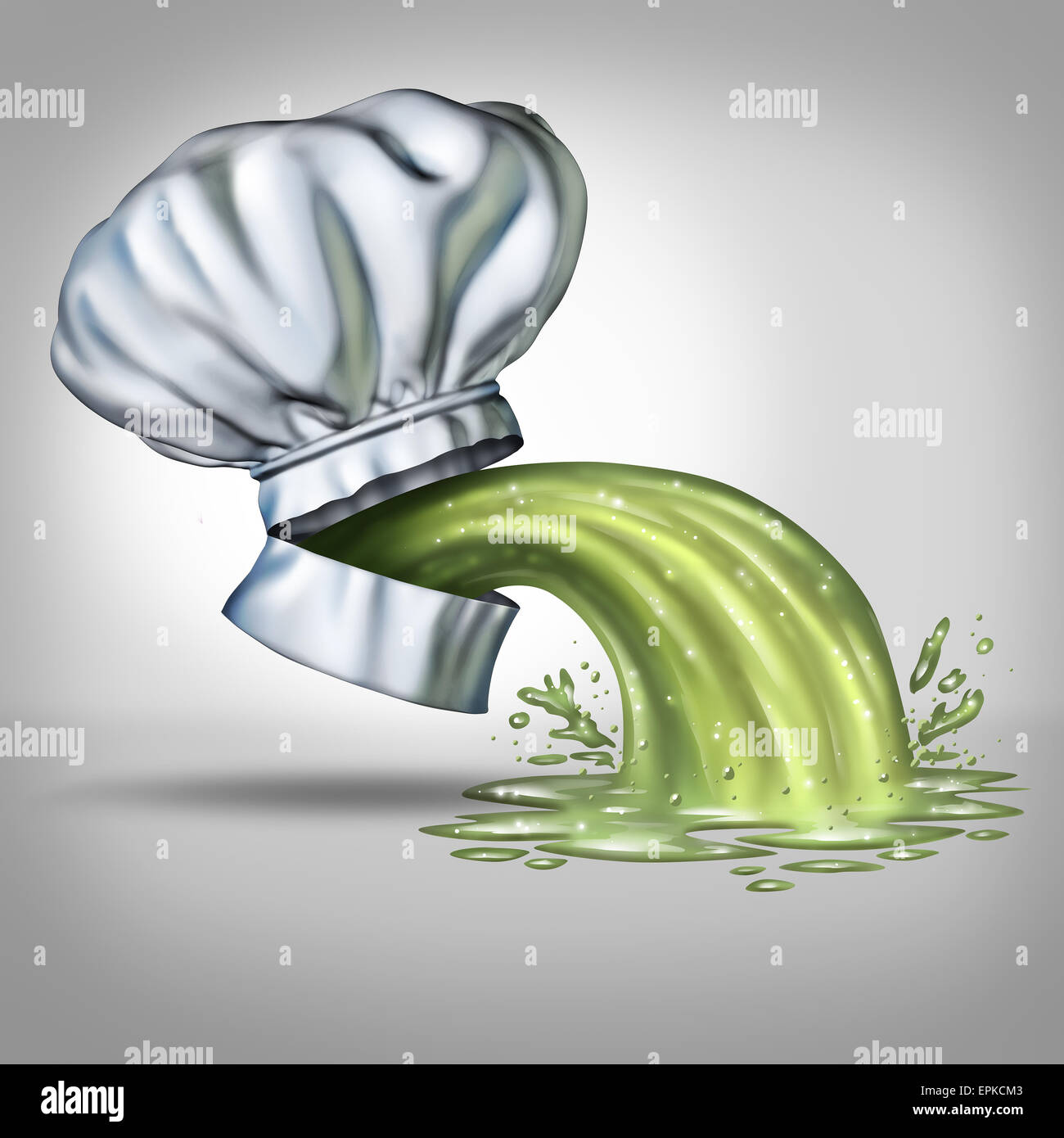 Food poisoning concept and foodborne illness as a chef hat with an open mouth with vomit projecting outwards as - Stock Image