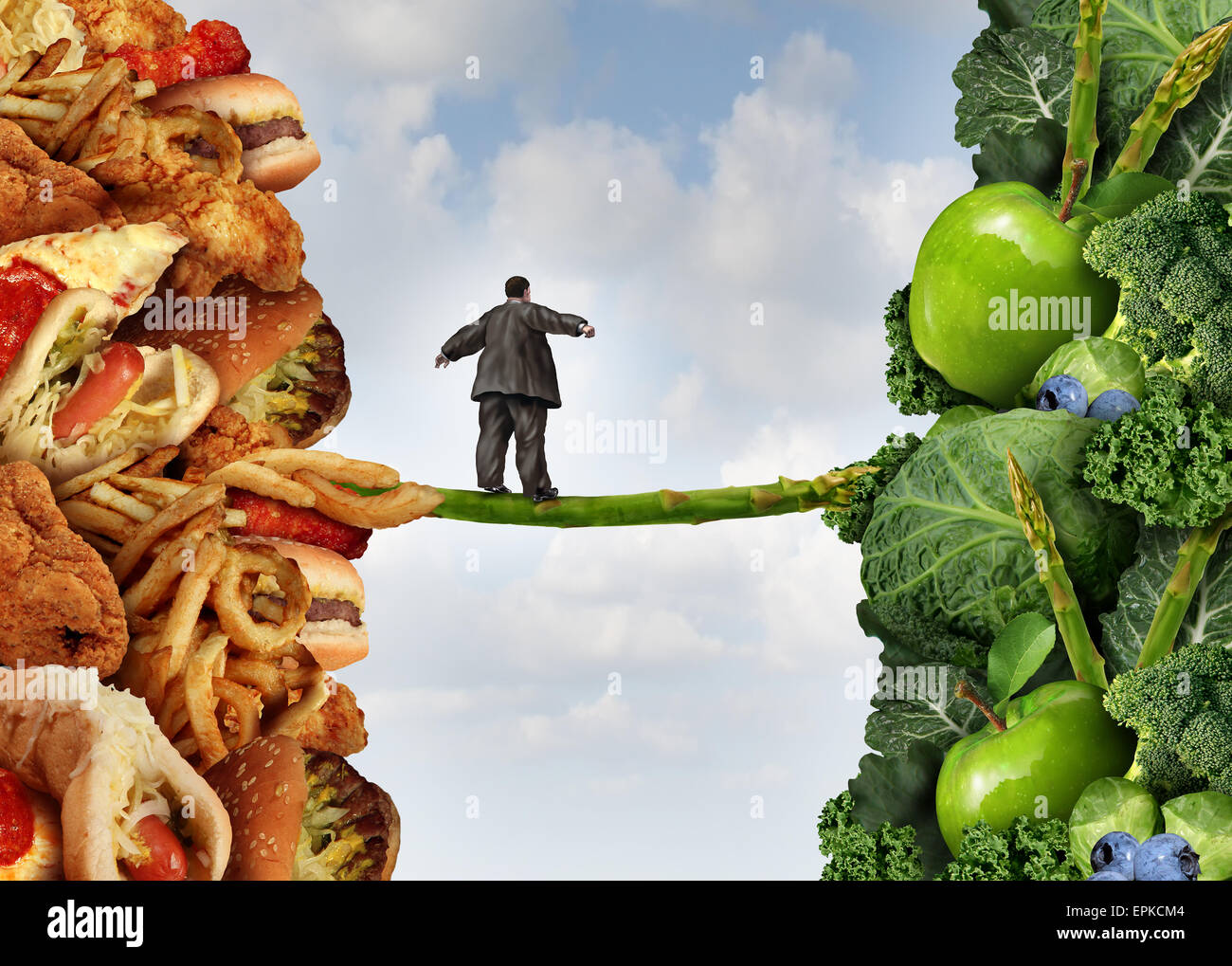 Diet change healthy lifestyle concept and having the courage to accept the challenge of losing weight and fighting - Stock Image