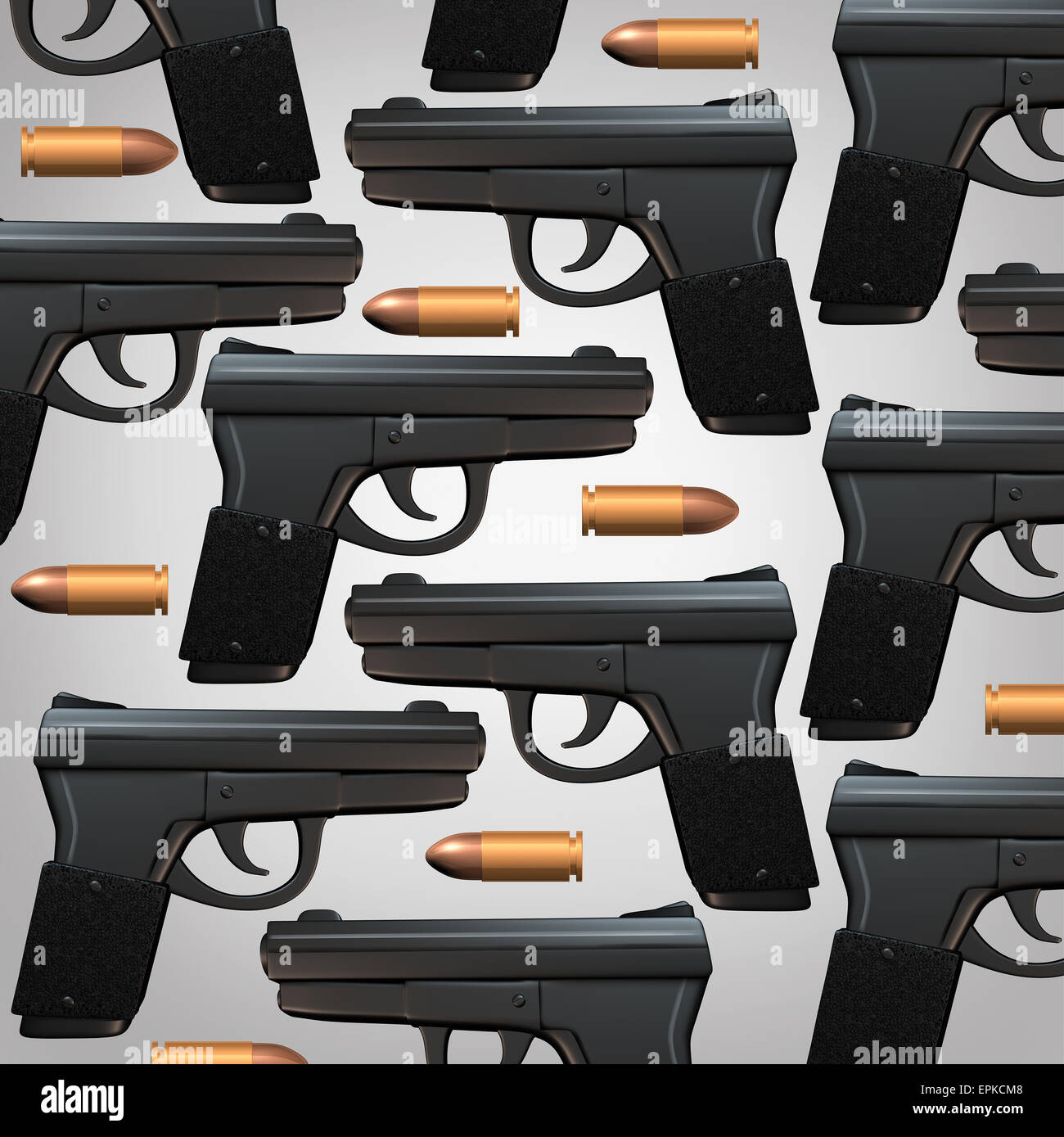 Gun and bullet background for legal social issues and firearm laws concept as a generic three dimensional handgun - Stock Image