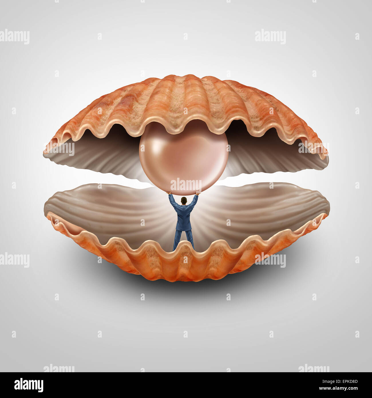 Finding fortune business concept as a businessman inside an open seashell holding and lifting up a giant precious Stock Photo