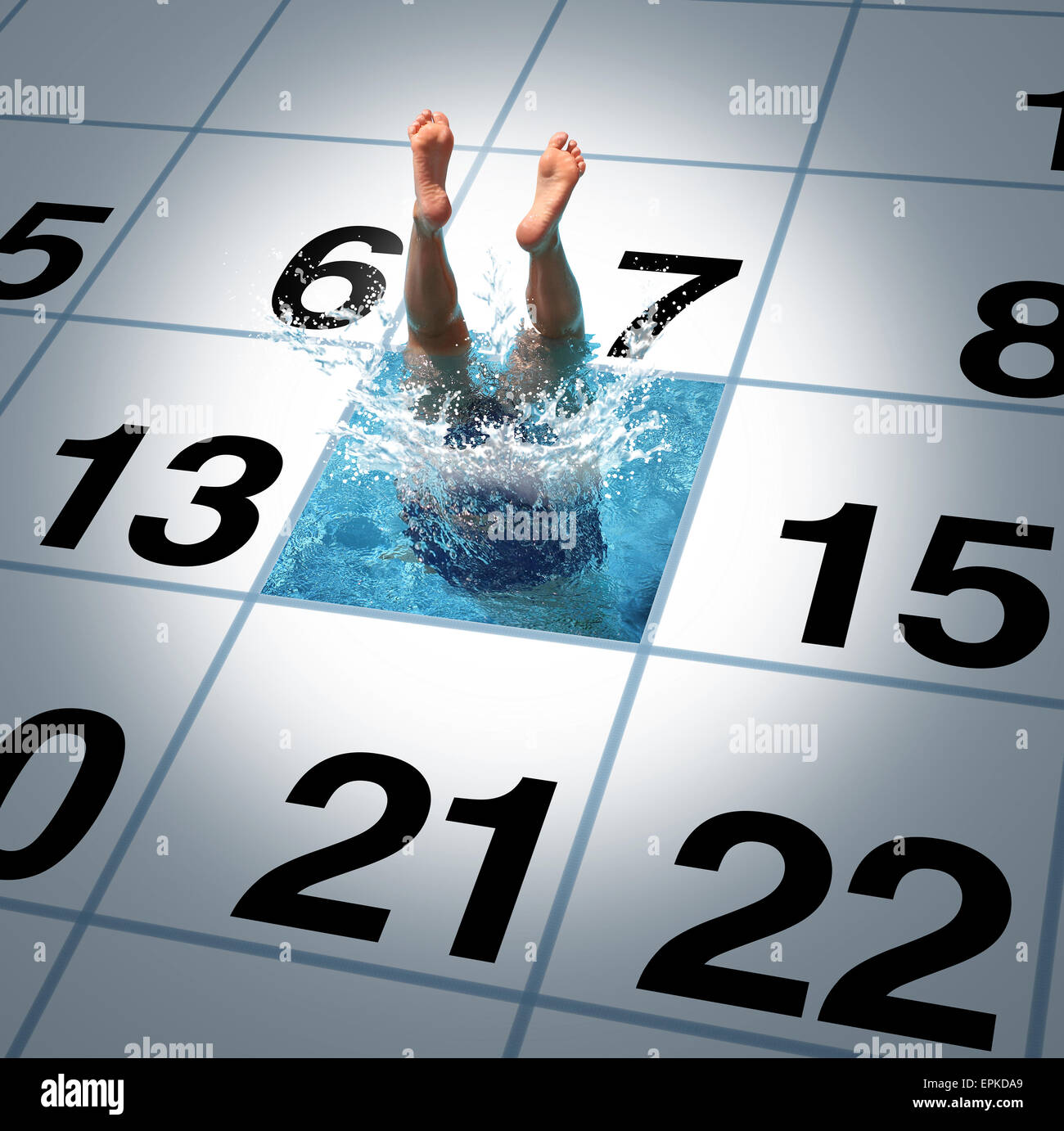 Swimming time as a person jumping and diving into a calendar with a refreshing cool pool as a fitness and healthy - Stock Image