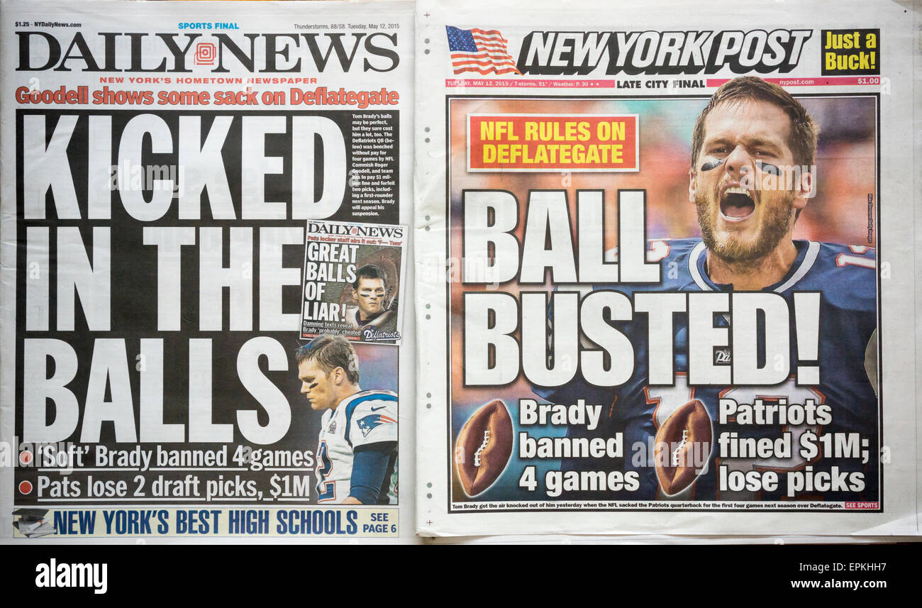 Headlines of the New York Daily News and Post  newspapers on Tuesday, May 12, 2015 report on the suspension for - Stock Image