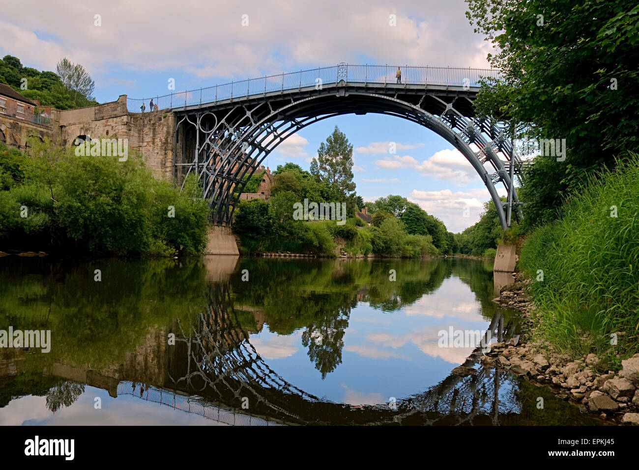 First iron bridge in the world was built by Abraham Darby III River Severn at Ironbridge Shropshire England UK Europe - Stock Image