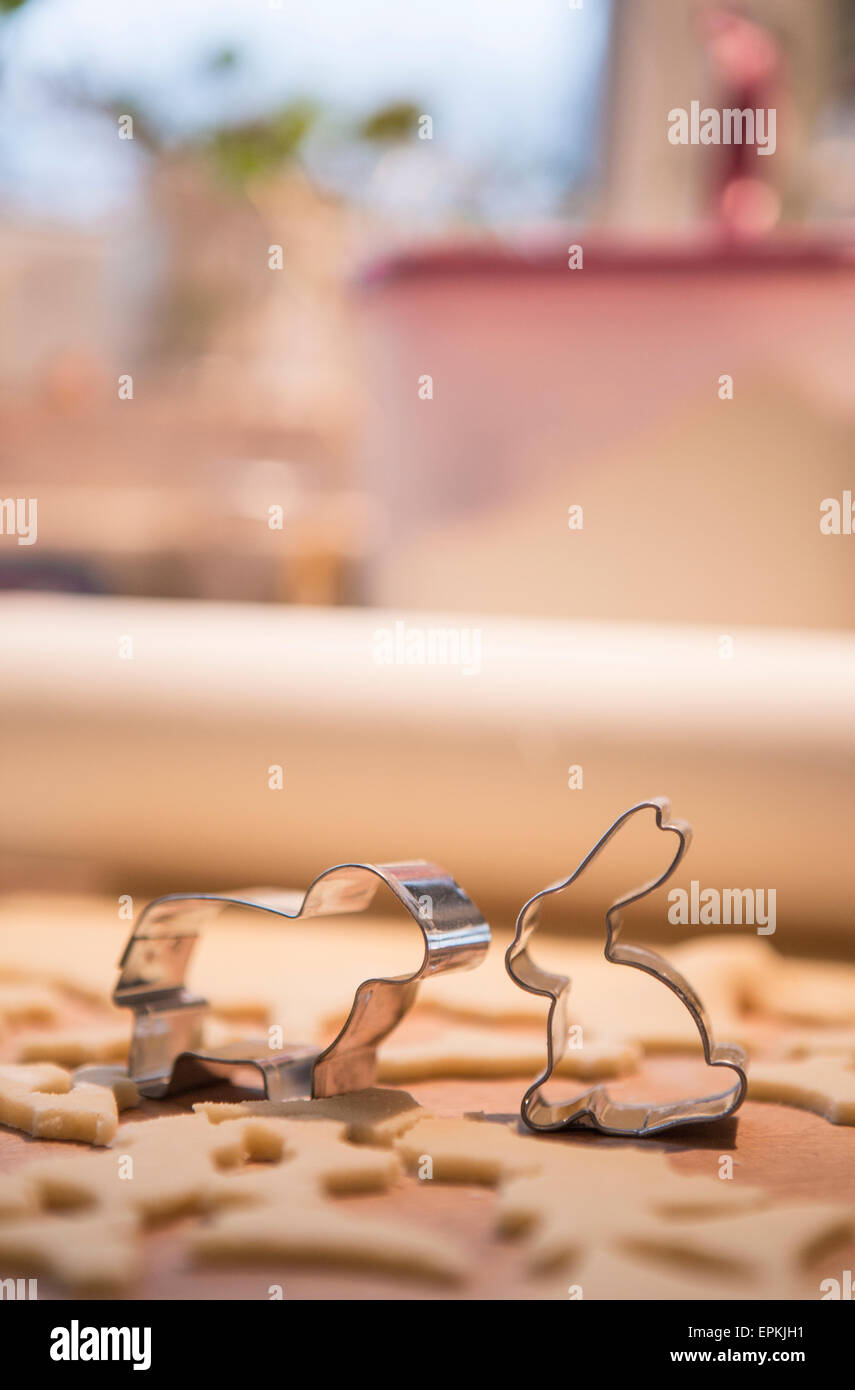 Cookie cutters shaped like bunny and sheep - Stock Image