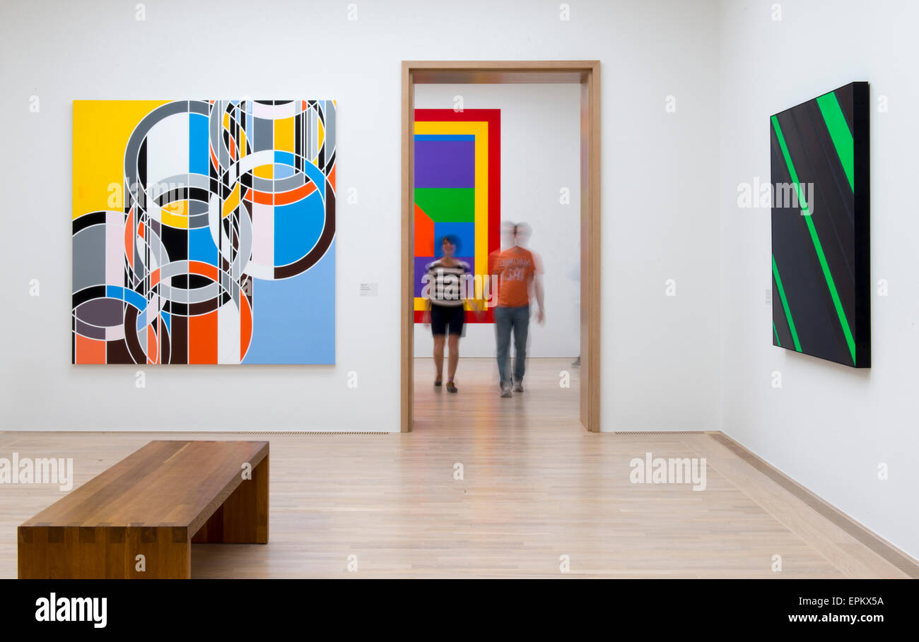 Abstract art works on white walls of minimalist modern art gallery, Lenbachhaus, Munich, Germany - Stock Image