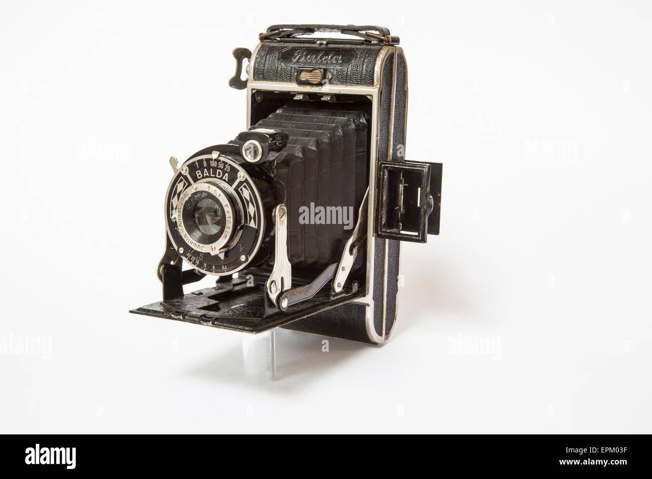 Balda Juwella German folding camera with bellows circa 1930 producing 6cm x 9cm images on 120 format film. - Stock Image