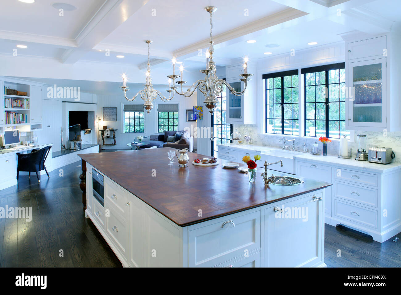 Wooden Topped Island Unit In Large Open Plan Kitchen Living Room Stock Photo 82803222 Alamy