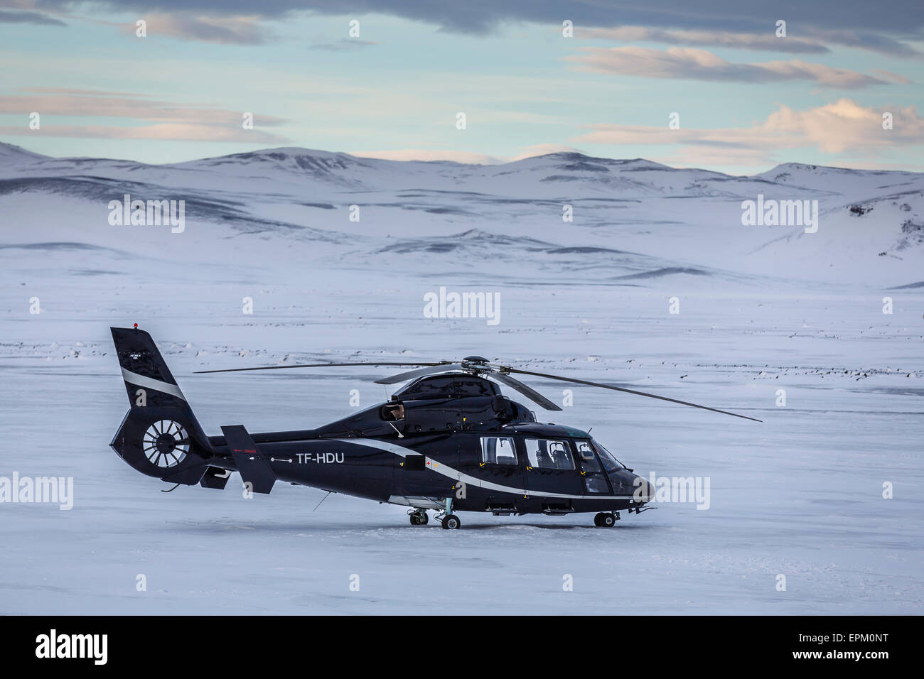 Helicopter by the Holuhraun Fissure Eruption, Bardarbunga Volcano, Iceland. - Stock Image