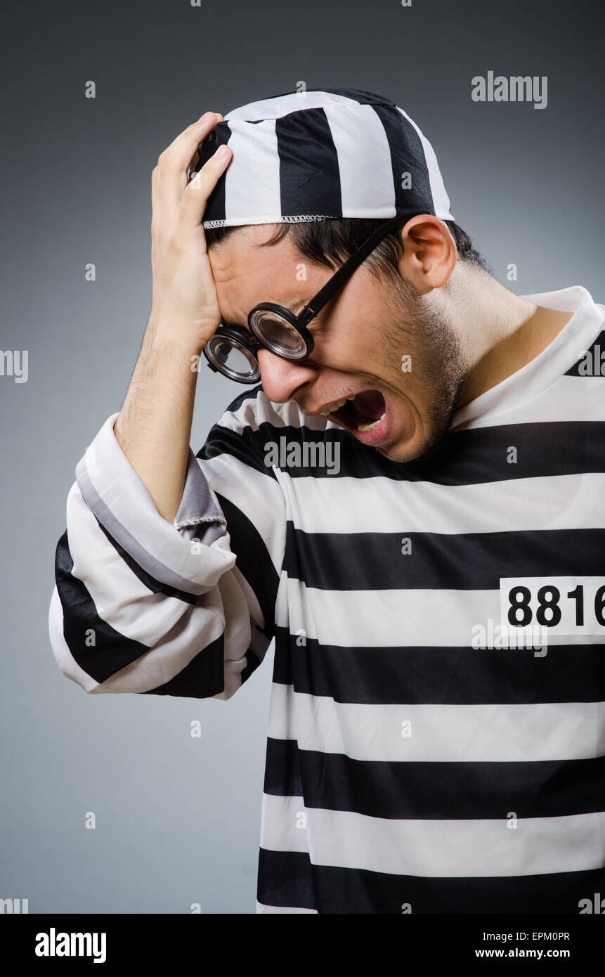 Prison inmate in funny concept - Stock Image