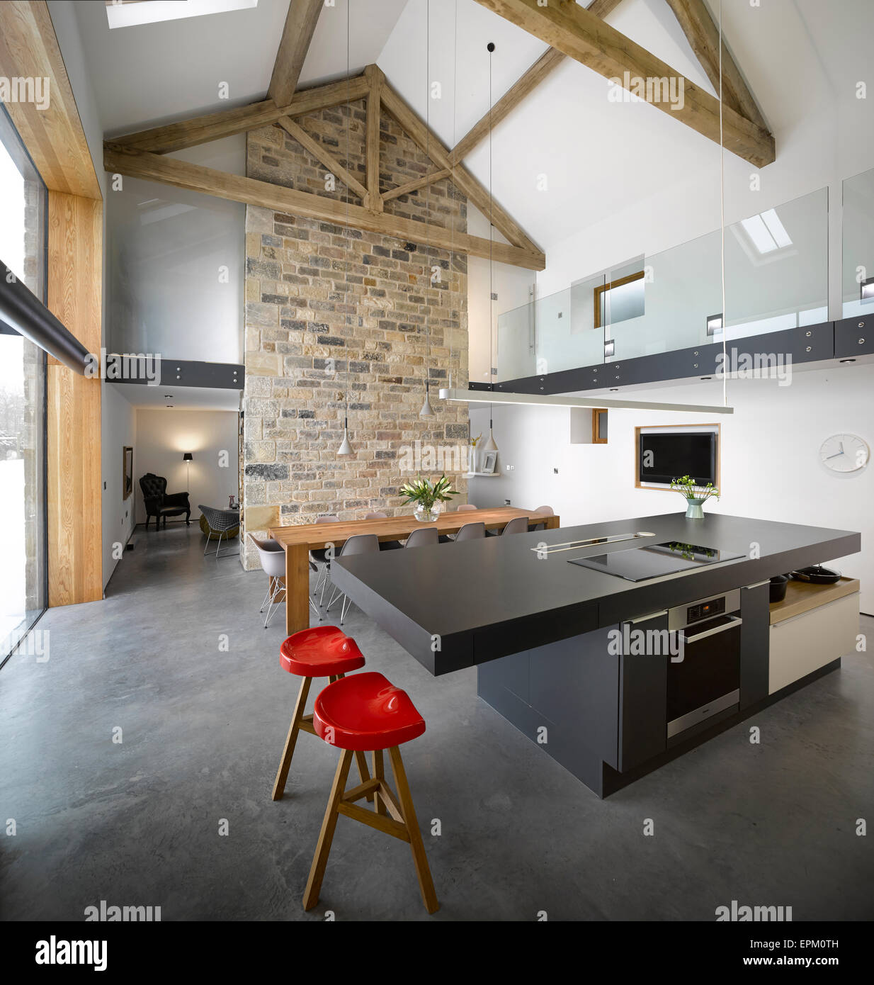 Open Plan Barn Conversion Beamed Stock Photos & Open Plan