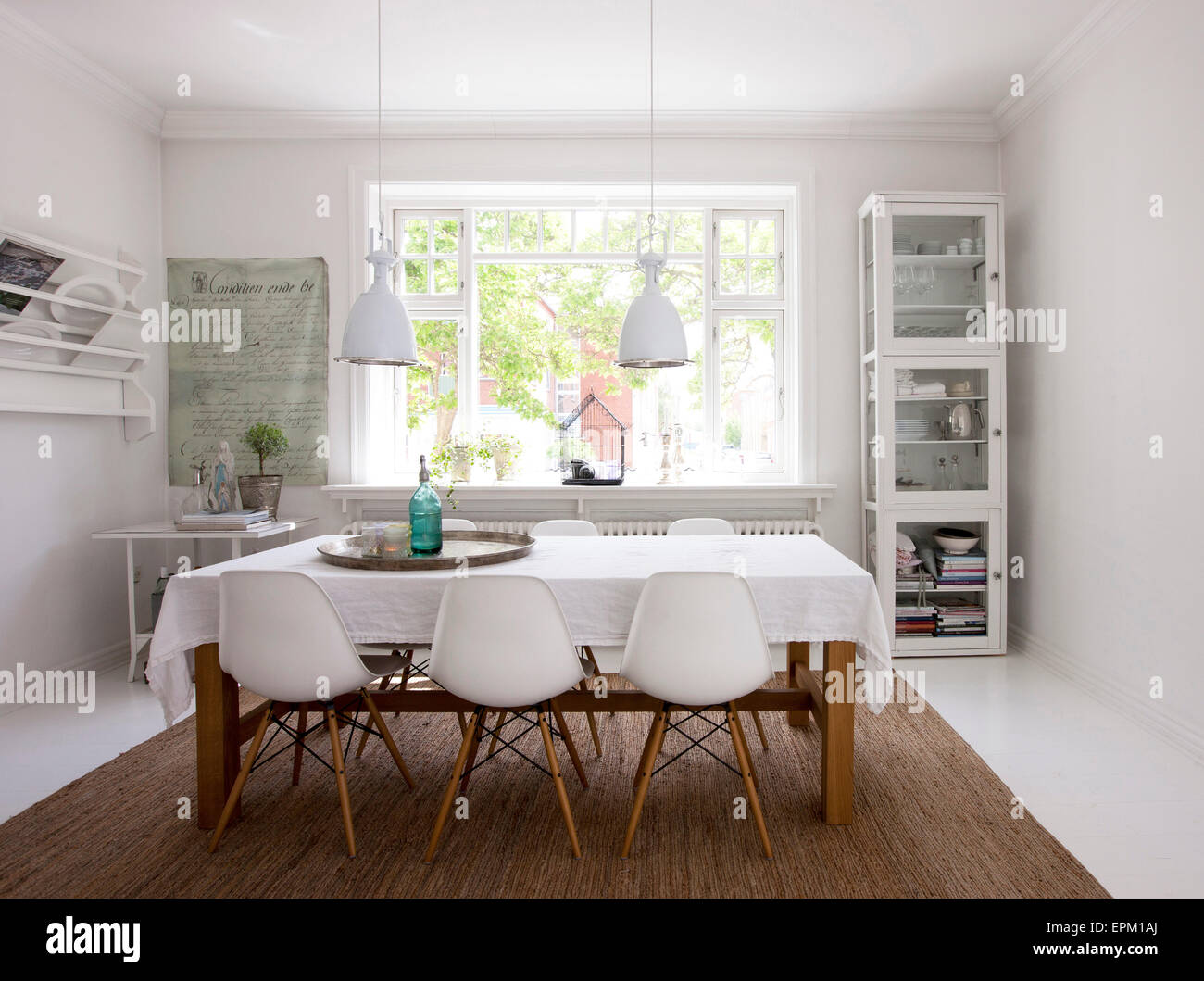Dining Room With Shelves And Bar Stools In Hanne Davidsen Home Renovation Silkesborg Denmark