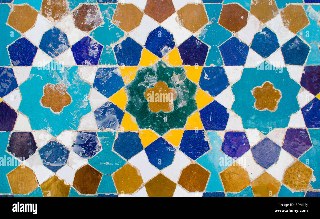 Iran, Shiraz, Mosaic pattern with ceramic tiles Stock Photo ...