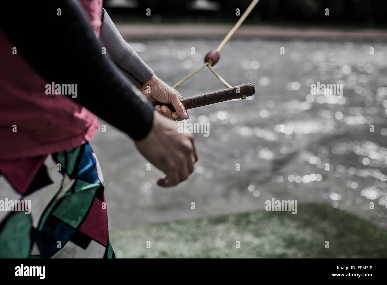 Germany, Garbsen, wakeboarder at Blue Lake - Stock Image