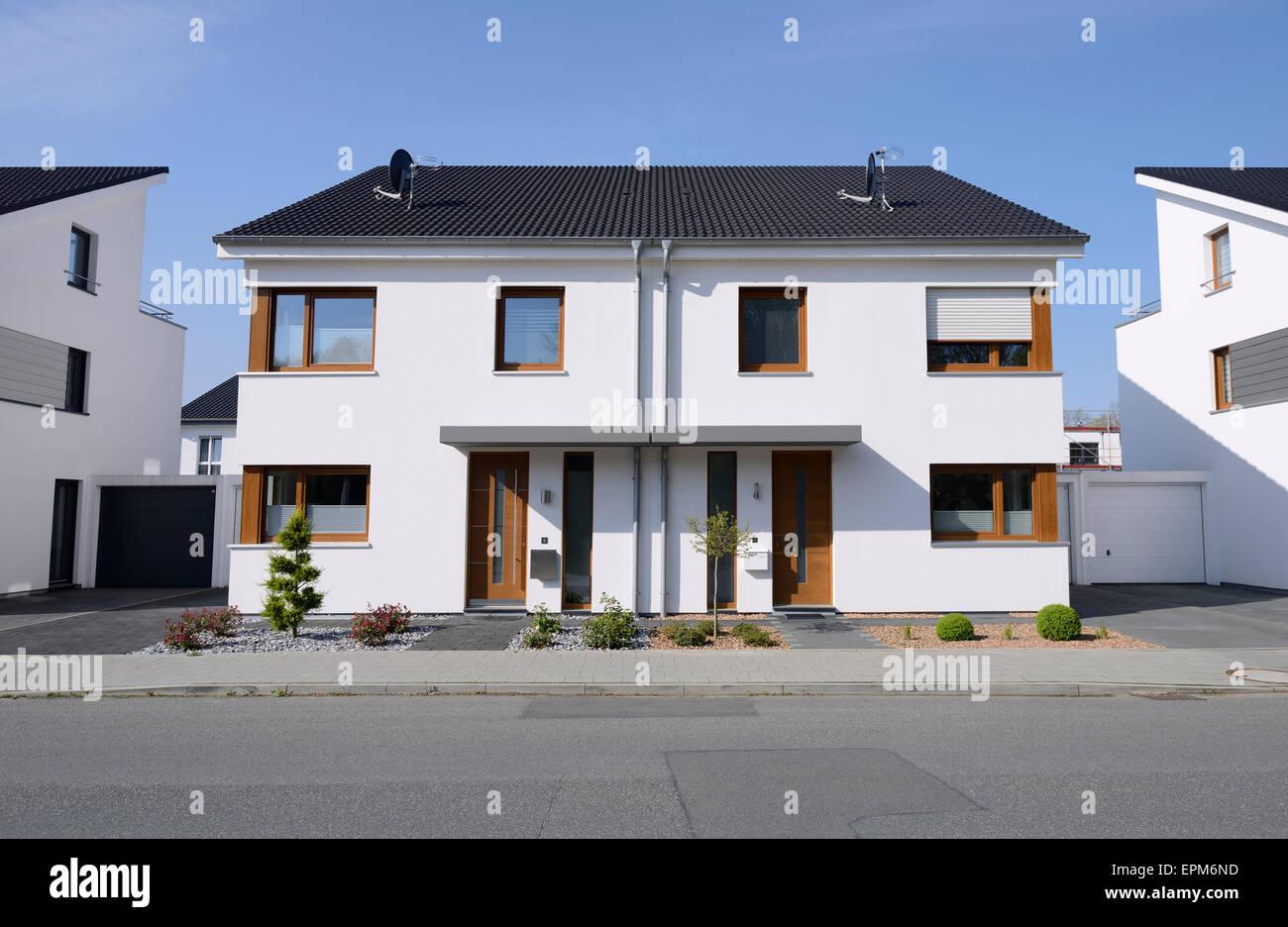 Germany, Moenchengladbach, semidetached house - Stock Image