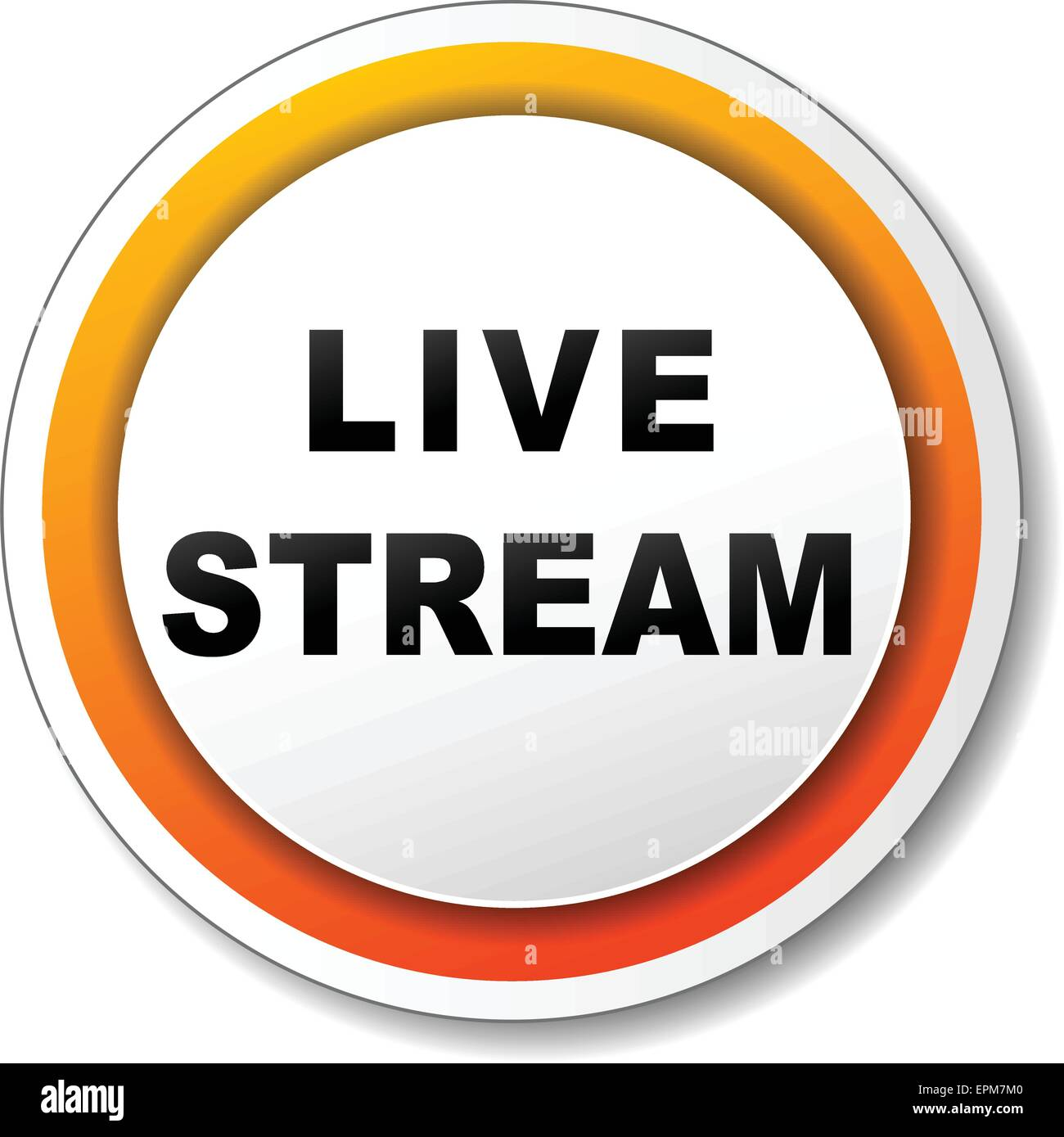 illustration of white and orange icon for live stream - Stock Image