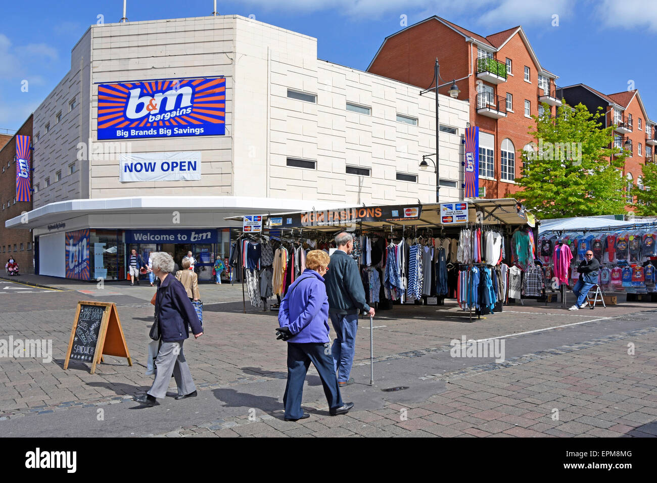 Romford market place stalls with a recently opened B&M bargain store - Stock Image