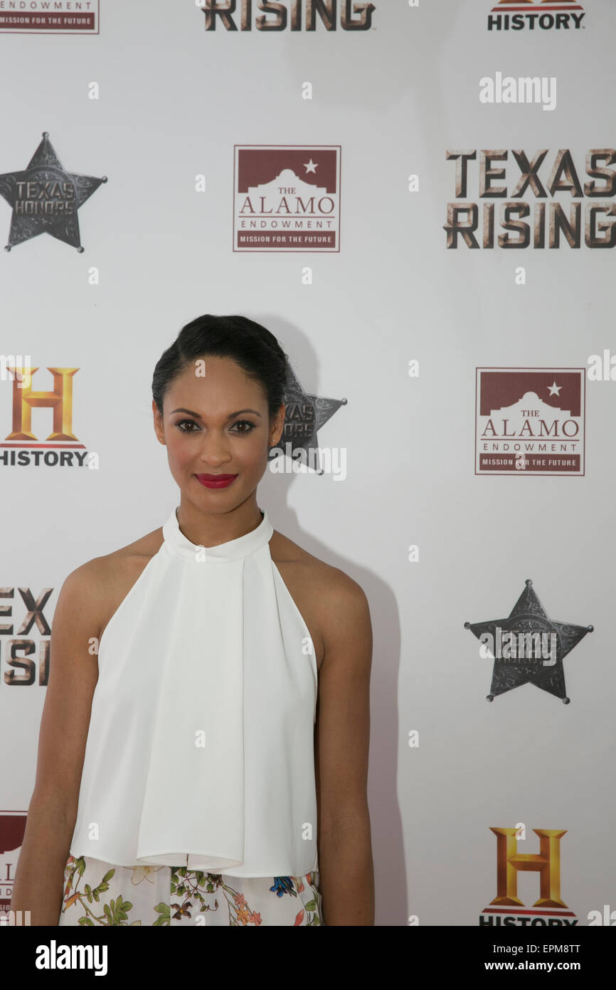 San Antonio, Texas, USA. 18th May, 2015. Actress Cynthia Addai-Robinson at preview of the History Channel viewing - Stock Image