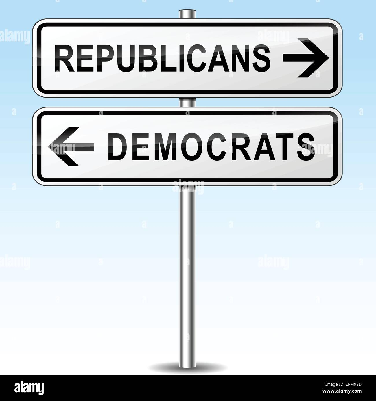illustration of republicans and democrats directions sign - Stock Image