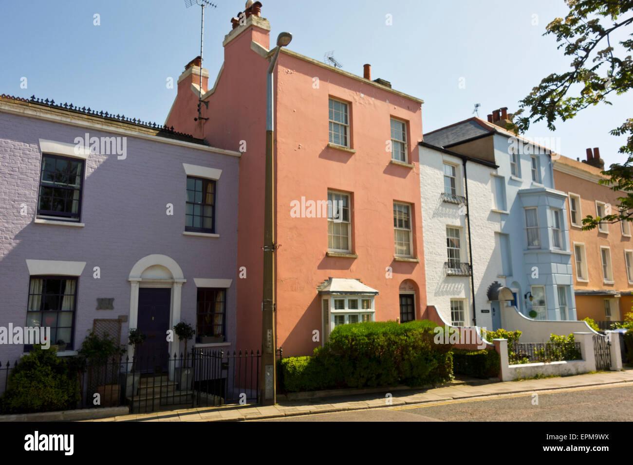 colourful houses street Broadstairs Kent England UK - Stock Image