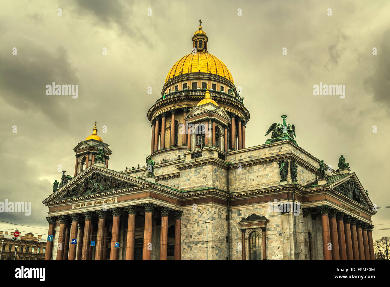 Retro style image of Saint Isaac's Cathedral in Saint Petersburg, Russia - Stock Image