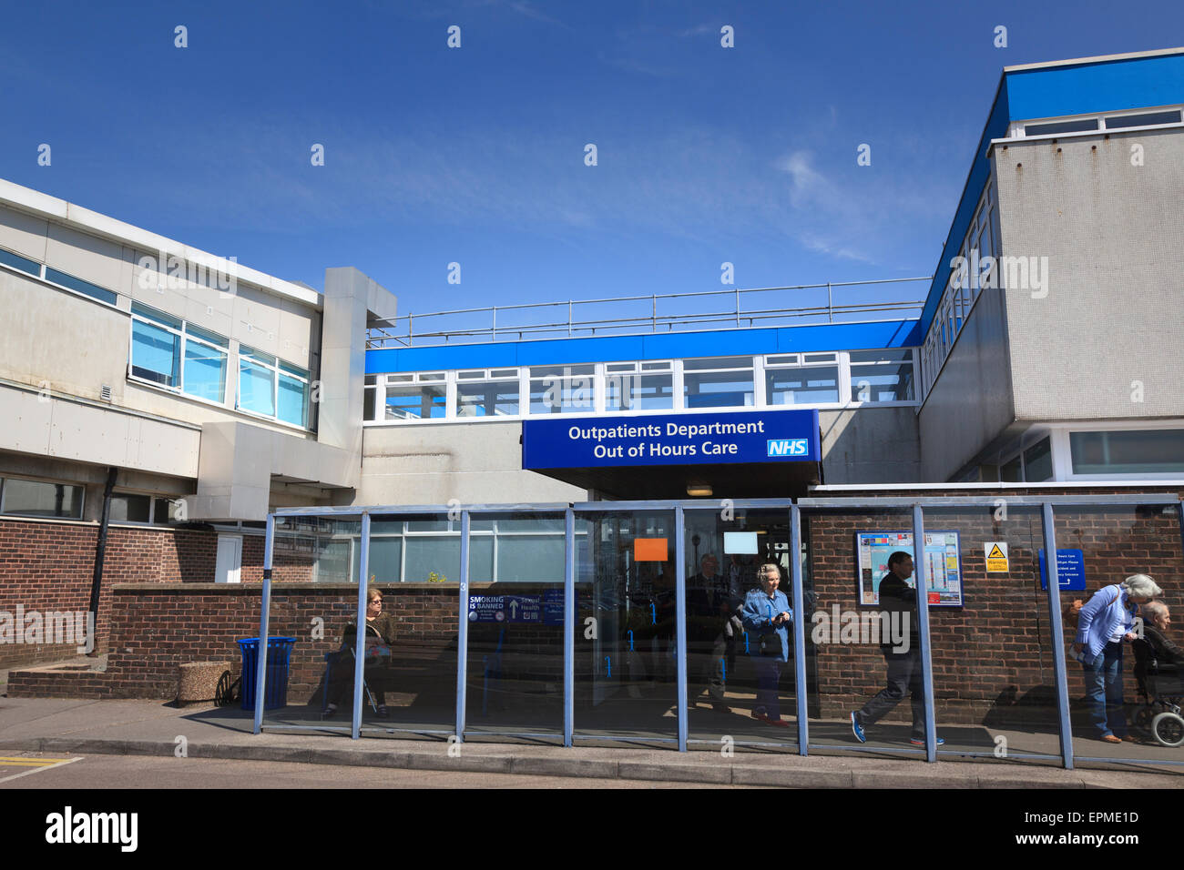 Entrance to outpatients department of St Richards Hospital at Chichester - Stock Image