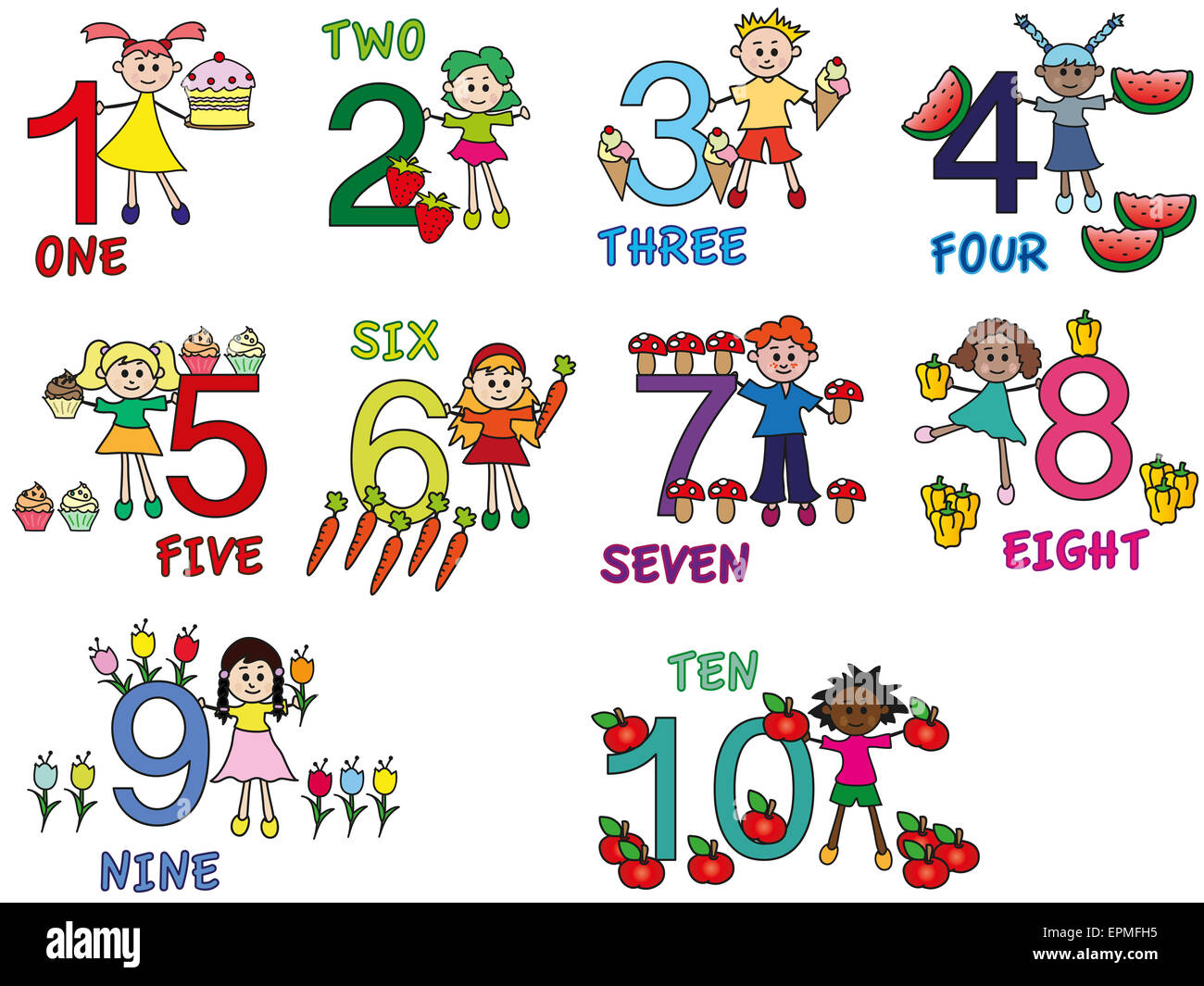 Illustration Of Numbers With Funny Children