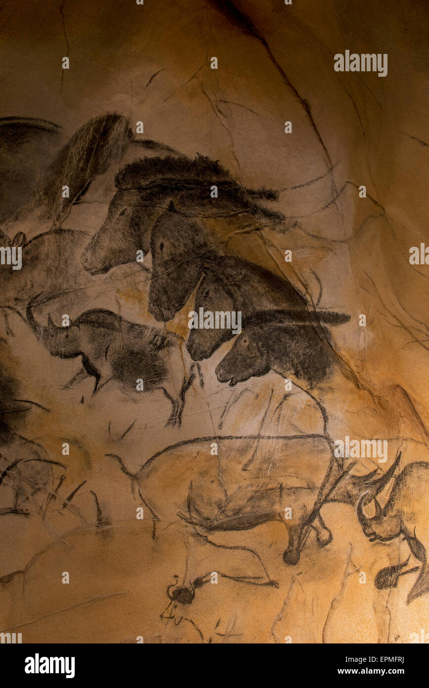 Replica of prehistoric rock paintings of the Chauvet Cave, Ardèche, France, showing animals woolly rhinoceros - Stock Image