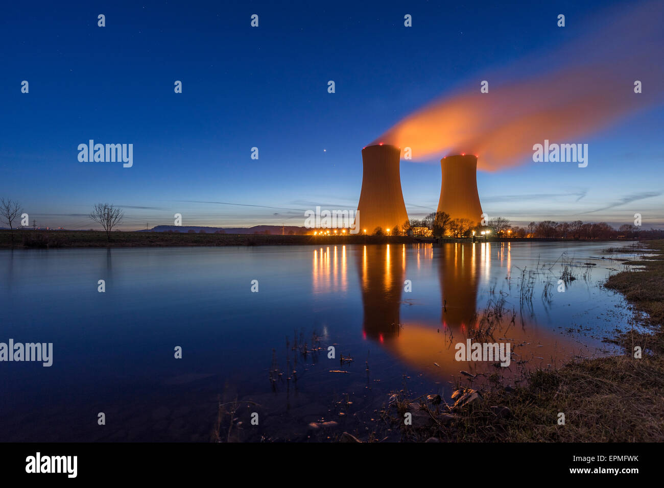 Germany, Lower Saxony, Grohnde, Grohnde Nuclear Power Plant - Stock Image