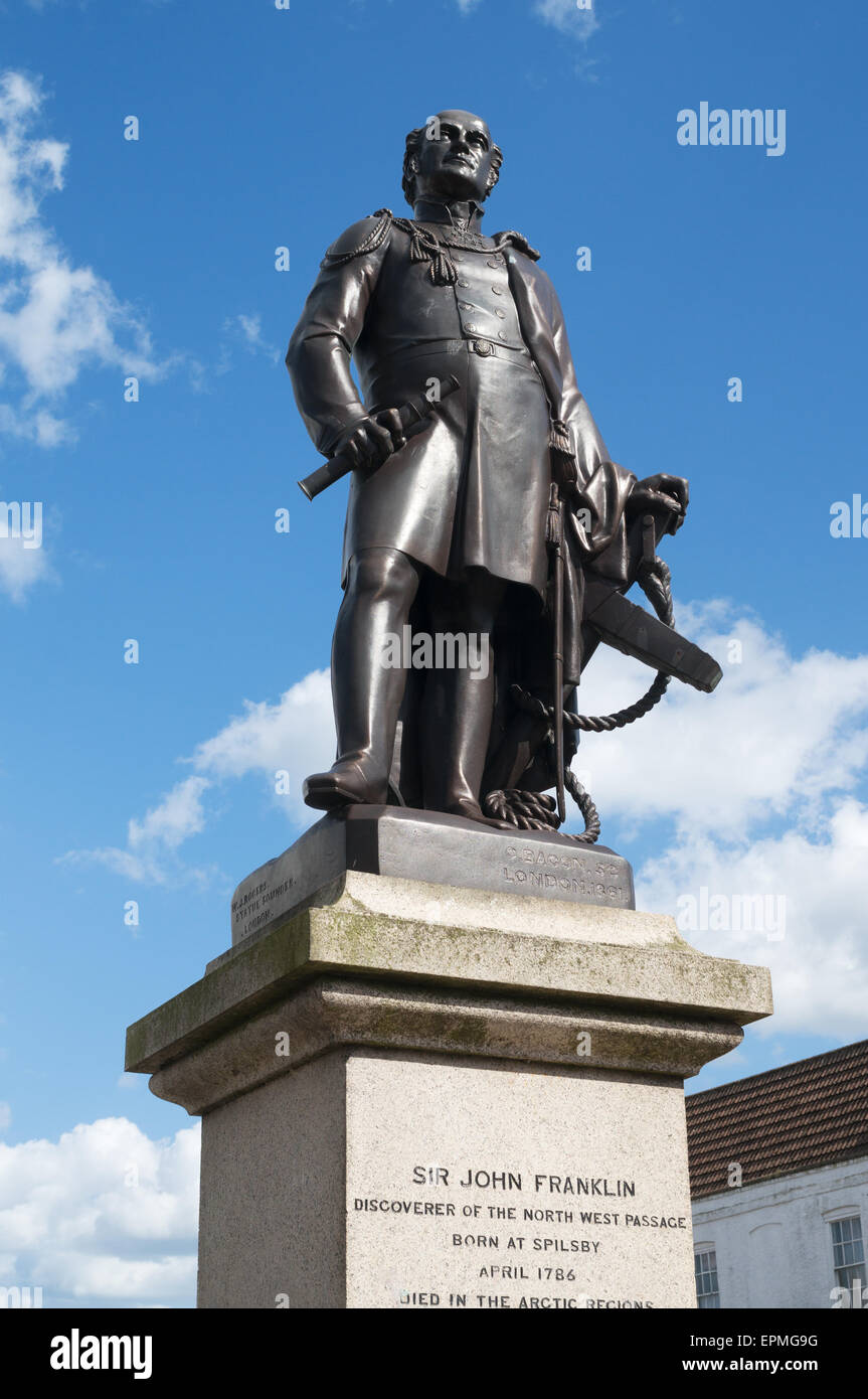 Bronze statue of Sir John Franklin, Spilsby, Lincolnshire, England, UK - Stock Image