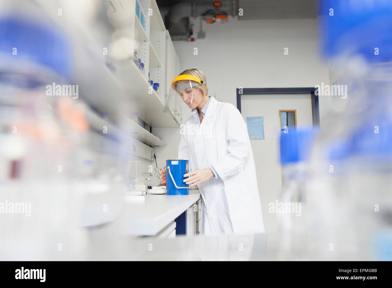 Chemist with nitrogen in a laboratory - Stock Image