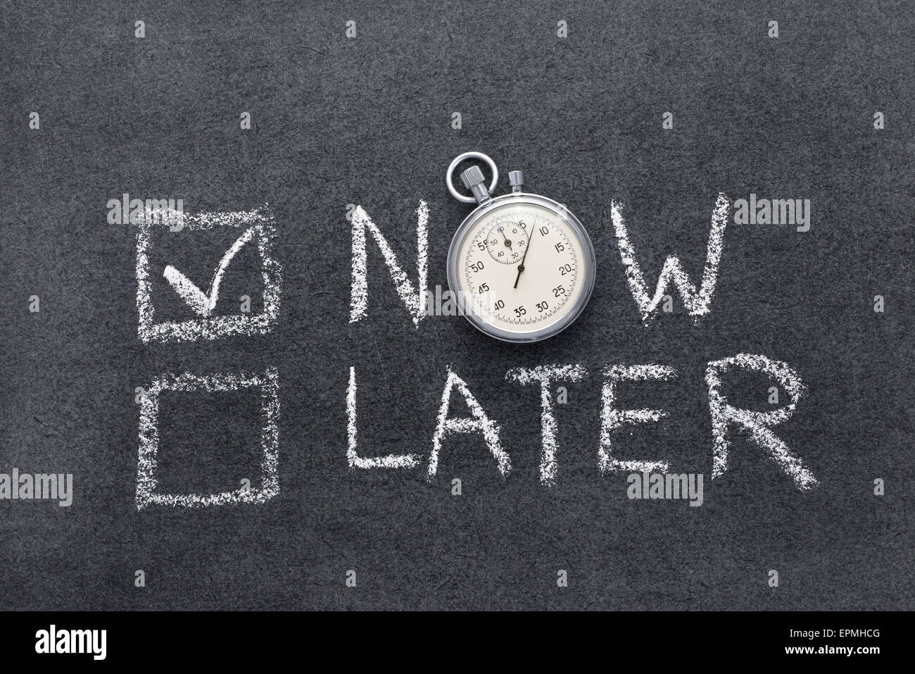 now or later concept handwritten on chalkboard with vintage precise stopwatch used instead of O - Stock Image