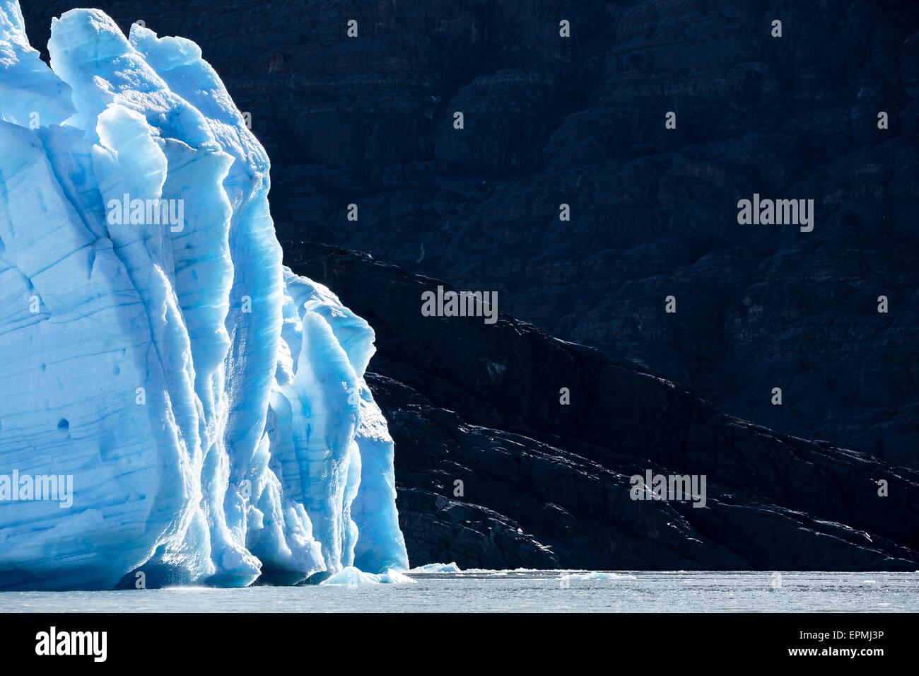 South America Chile Magallanes y la Antartica Chilena Region Cordillera del Paine Grey Glacier and Lago Grey Torres - Stock Image