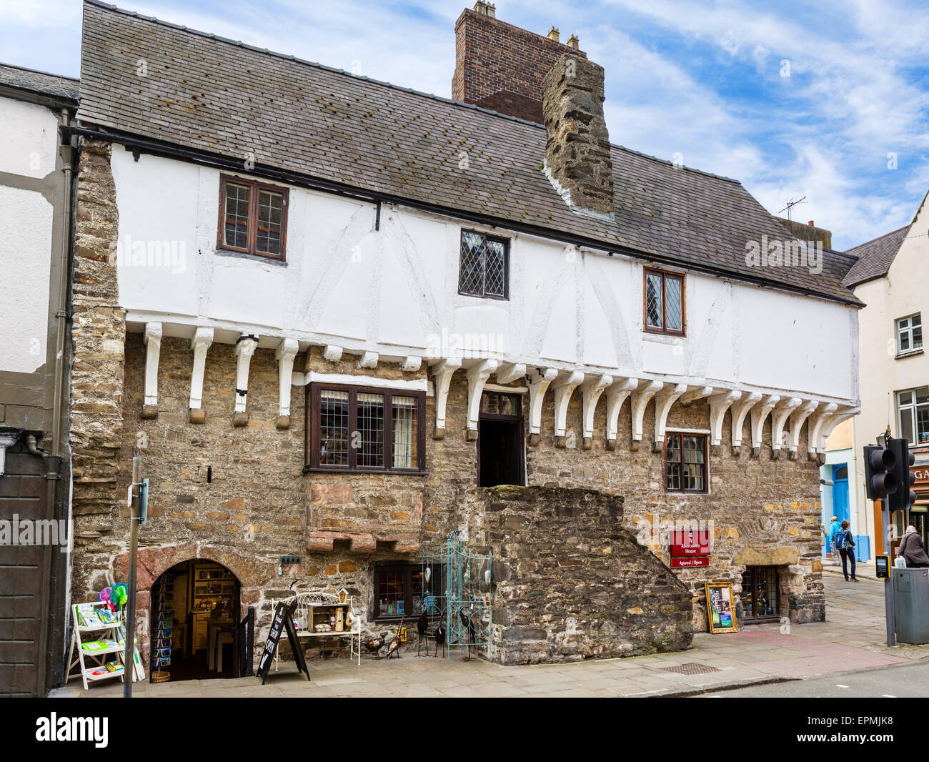 Aberconwy House, an historic 14thC merchant's house, Castle Street, Conwy, North Wales, UK - Stock Image