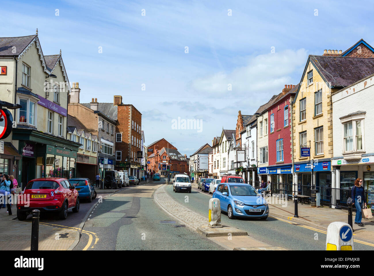 High Street in Denbigh, Denbighshire, Wales, UK - Stock Image