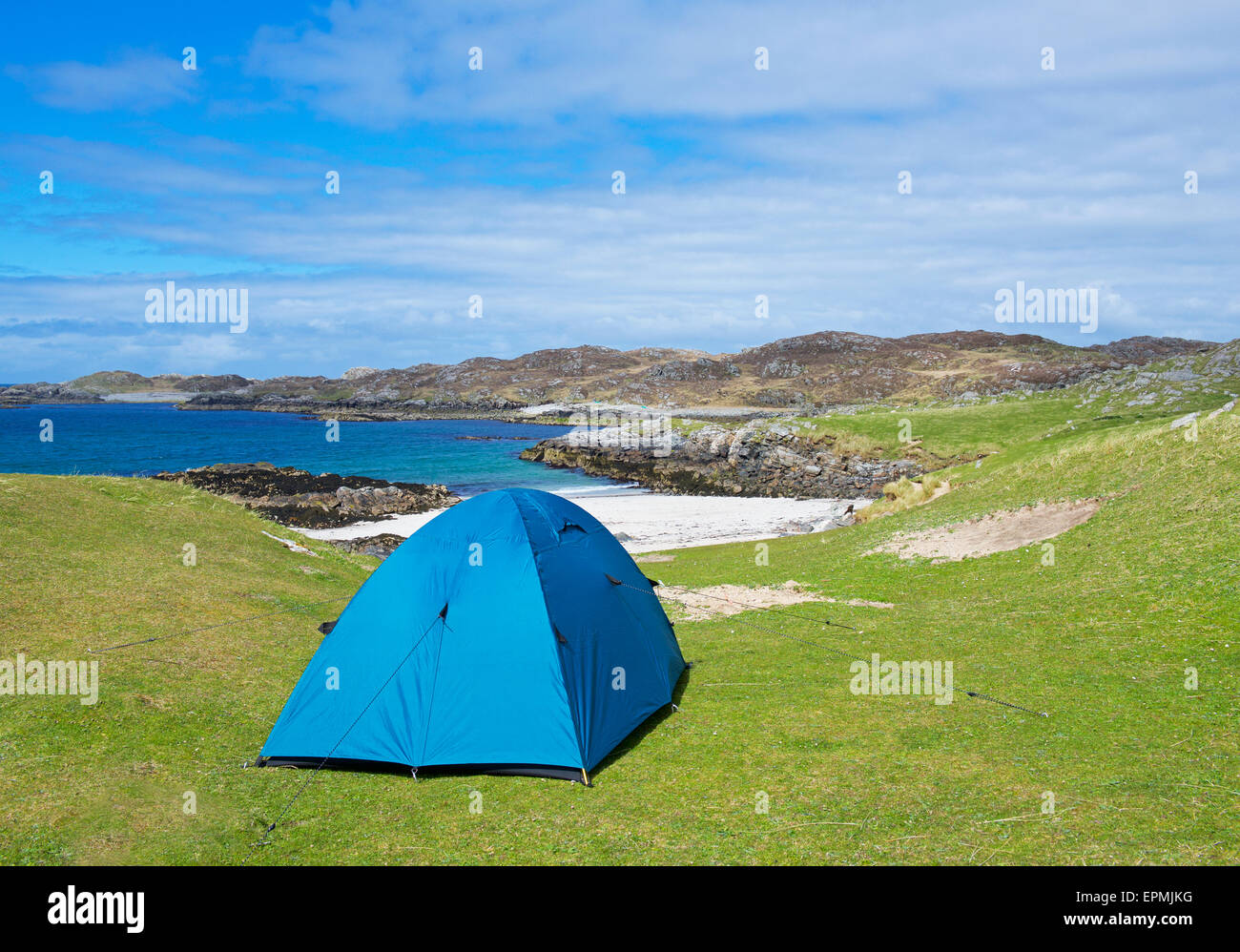 Wild camping on the Hebridean Island of Bernera, Outer Hebrides, Scotland UK - Stock Image