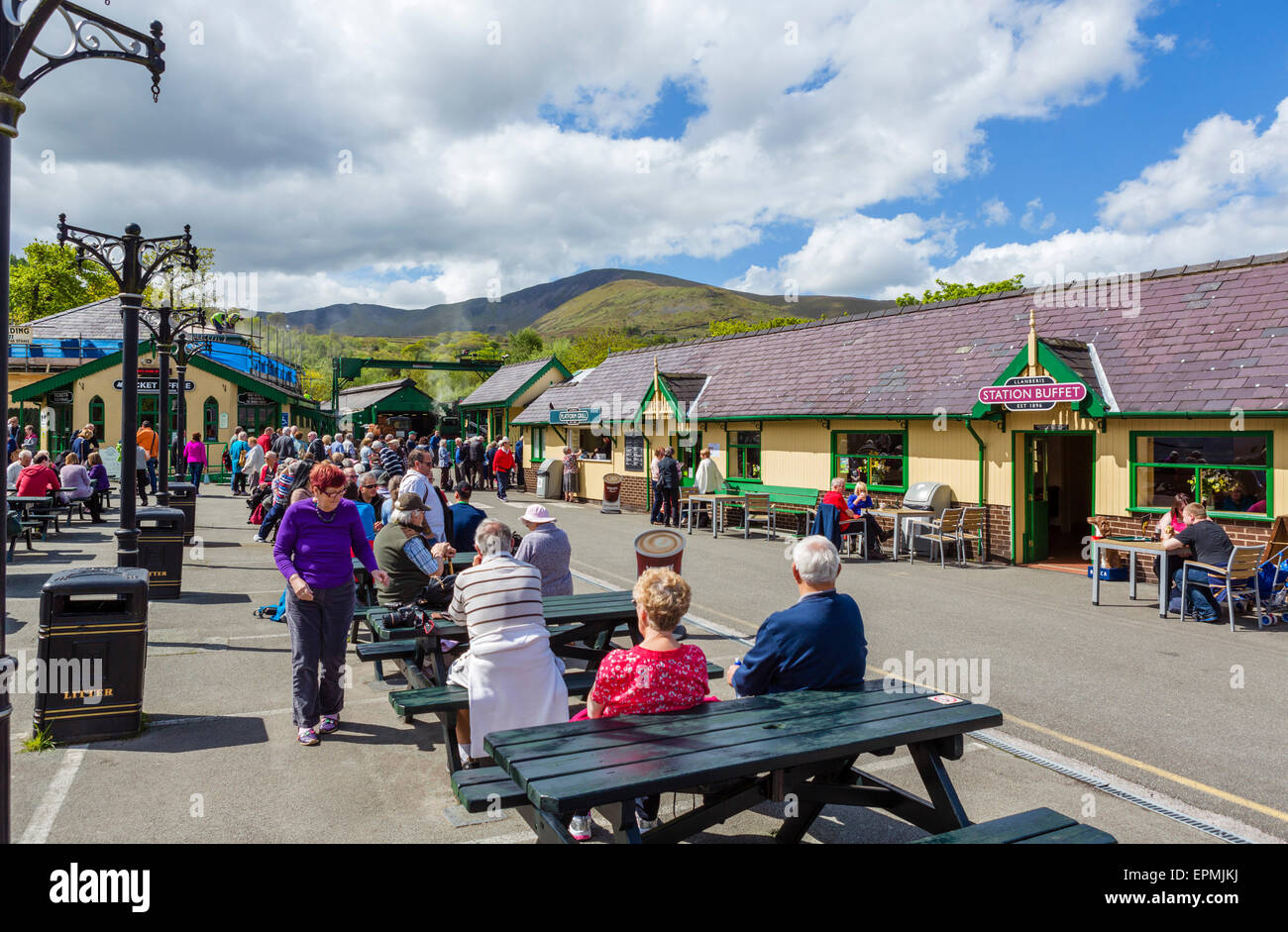 The station for the Snowdon Mountain Railway in Llanberis, Snowdonia, Gwynedd, Wales, UK - Stock Image