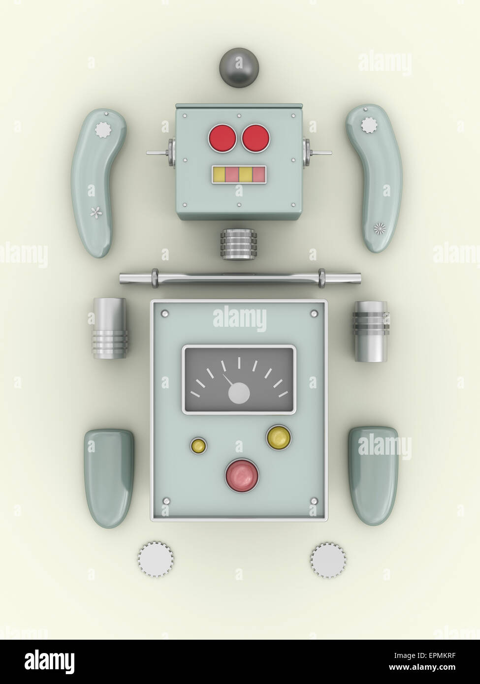 Construction kit of a robot, 3D rendering - Stock Image