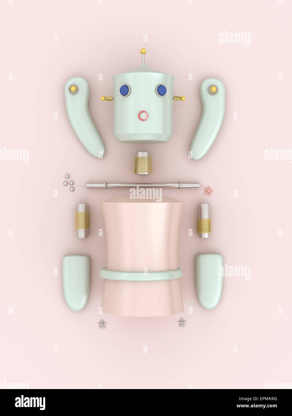 Construction kit of a female robot, 3D rendering - Stock Image