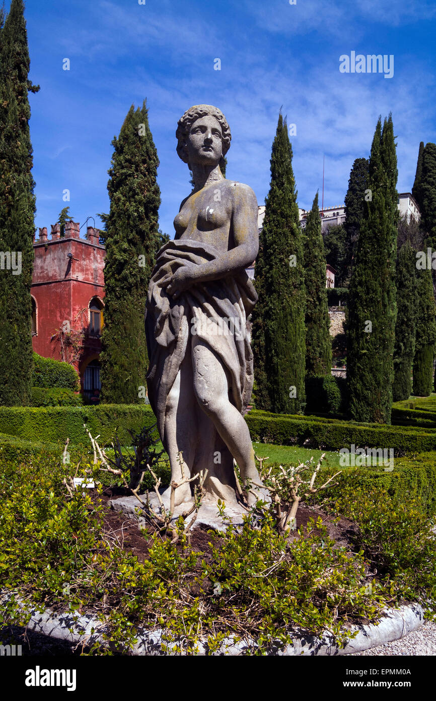 Classical statues in the Rennaissance Guisti Gardens in Verona, Italy Stock Photo