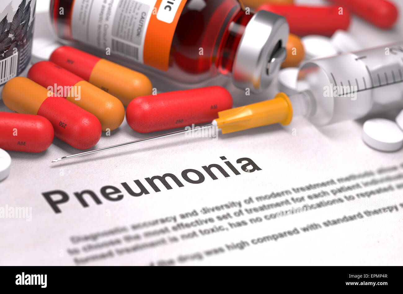Diagnosis - Pneumonia. Medical Report with Composition of Medicaments - Red Pills, Injections and Syringe. Selective - Stock Image