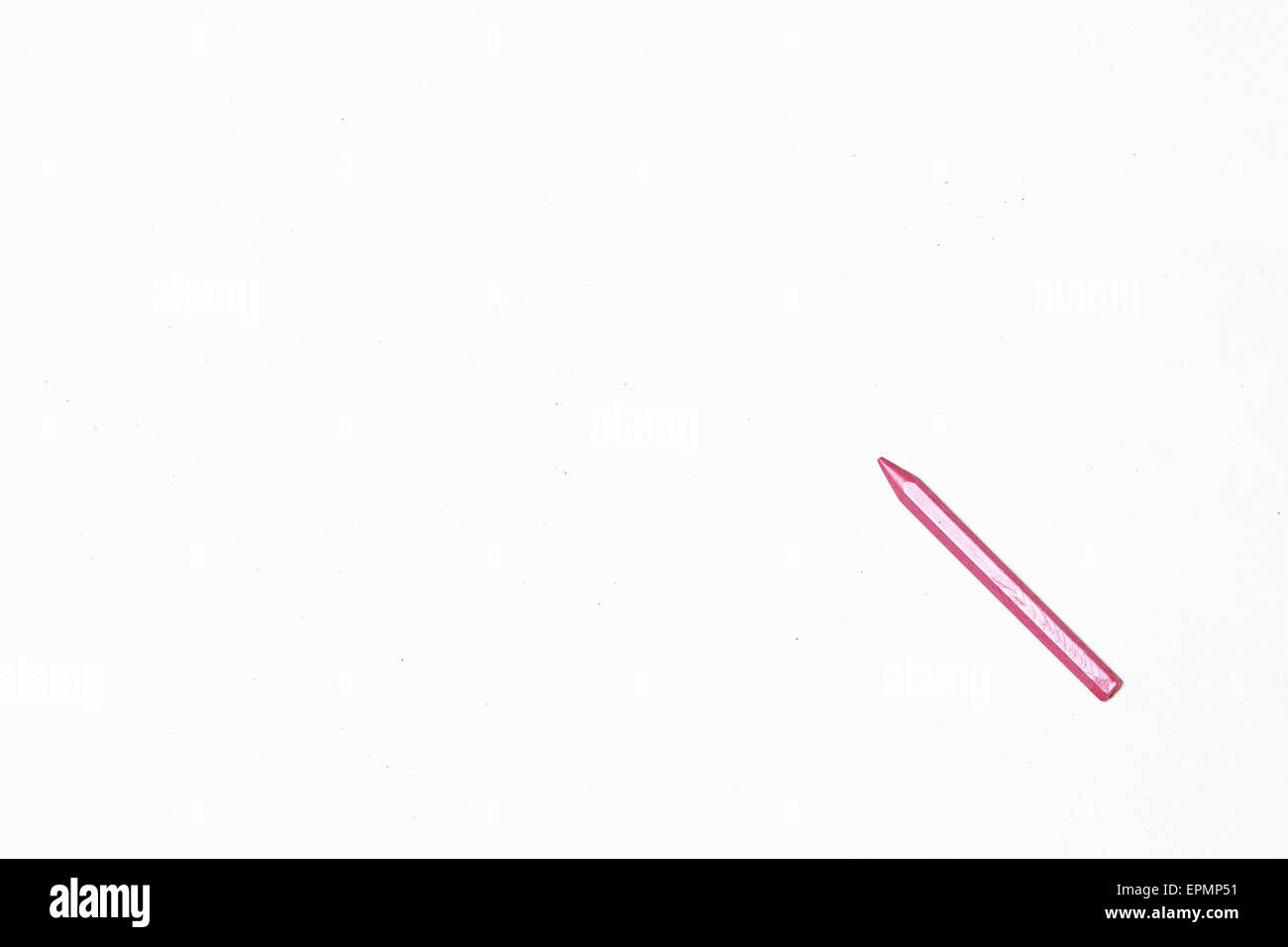 Pastel Pencil magenta on a blank sheet of paper. Space for text. The concept of drawing and design. - Stock Image