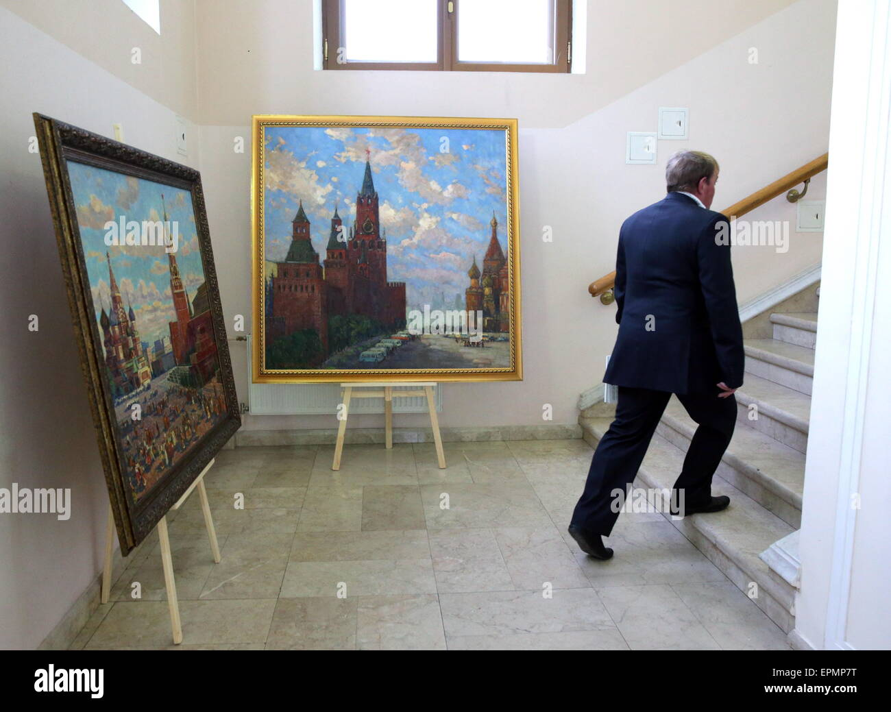 Moscow, Russia. 19th May, 2015. A man attends a charity auction titled 'Russian Art helping Donbass'. 140 - Stock Image