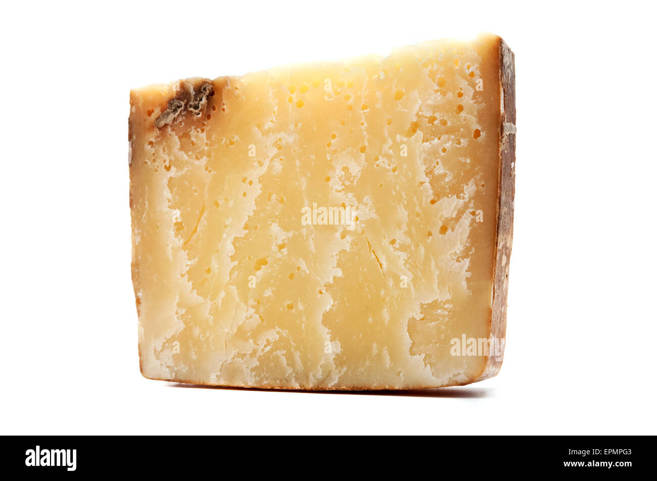 Bagoss cheese on a white background - Stock Image