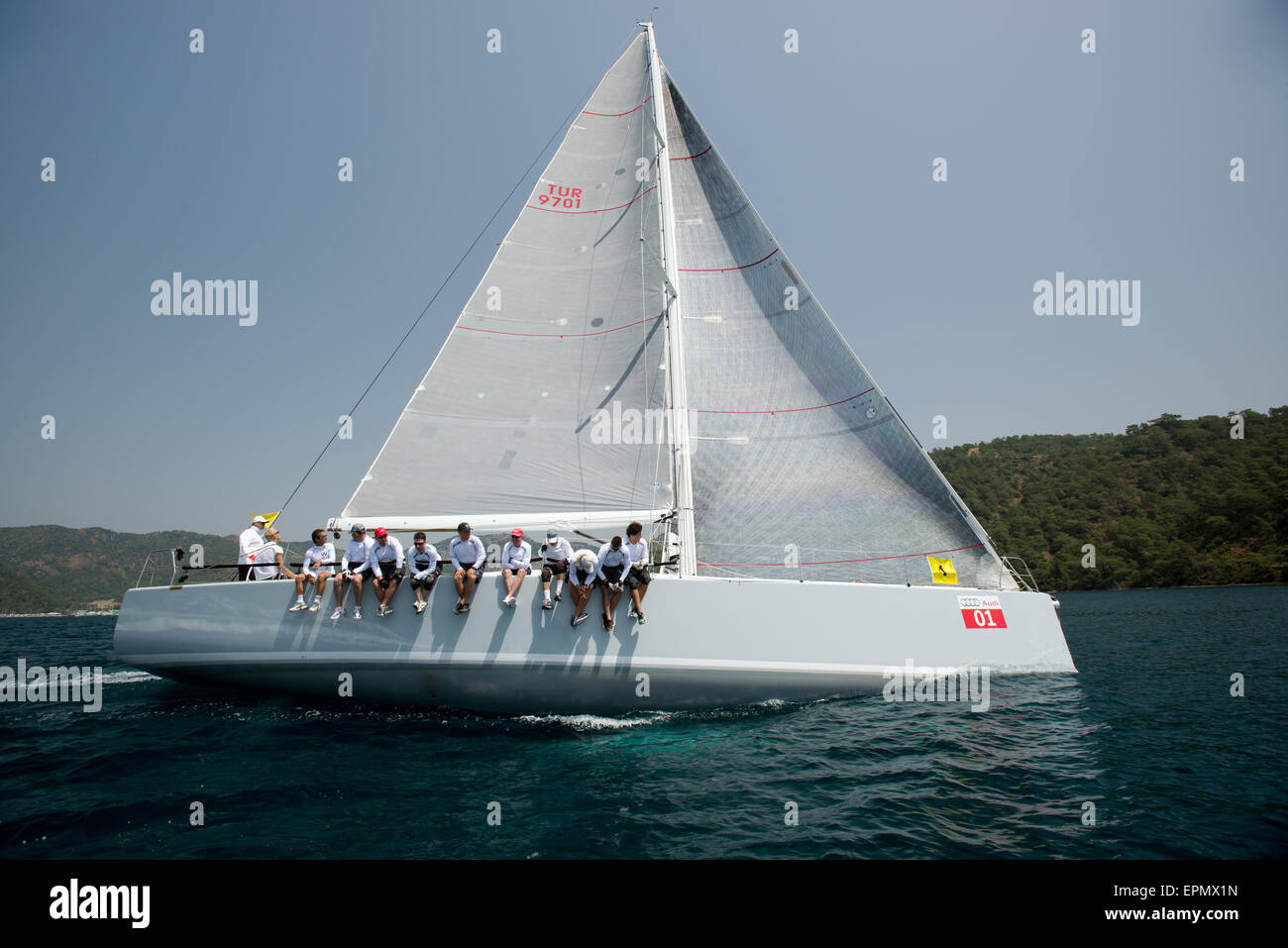 Sailing race in Göcek Fethiye Turkey - Stock Image