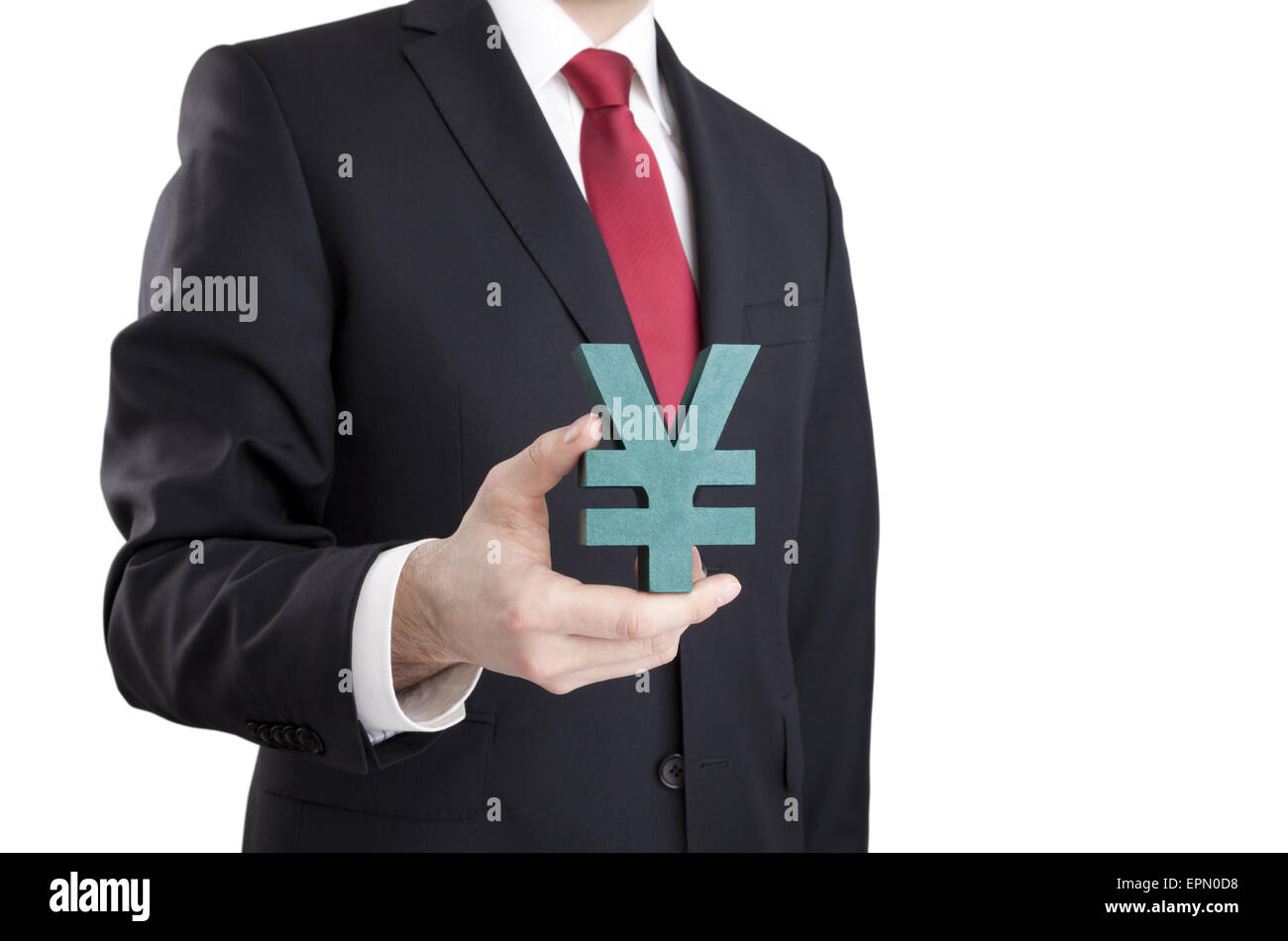 Businessman holding yen sign with clipping path - Stock Image