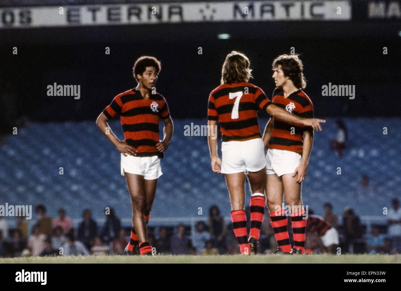 Geraldo Assoviador/Narciso Horacio Doval/Zico - 19.05.1975 - Flamengo - Championnat du Bresil-.Photo : PPG/Icon - Stock Image