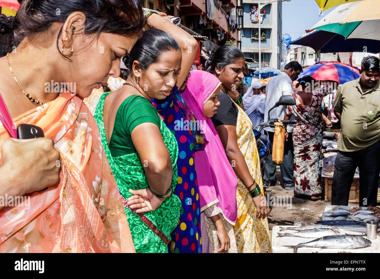 Mumbai India Asian Apollo Bandar Colaba Causeway Market Lala Nigam Road shopping street vendors stalls sale display - Stock Image