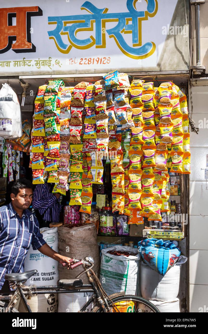 Mumbai India Asian Apollo Bandar Colaba Causeway Market Indumati Sakarikar Marg shopping street vendor stalls sale - Stock Image