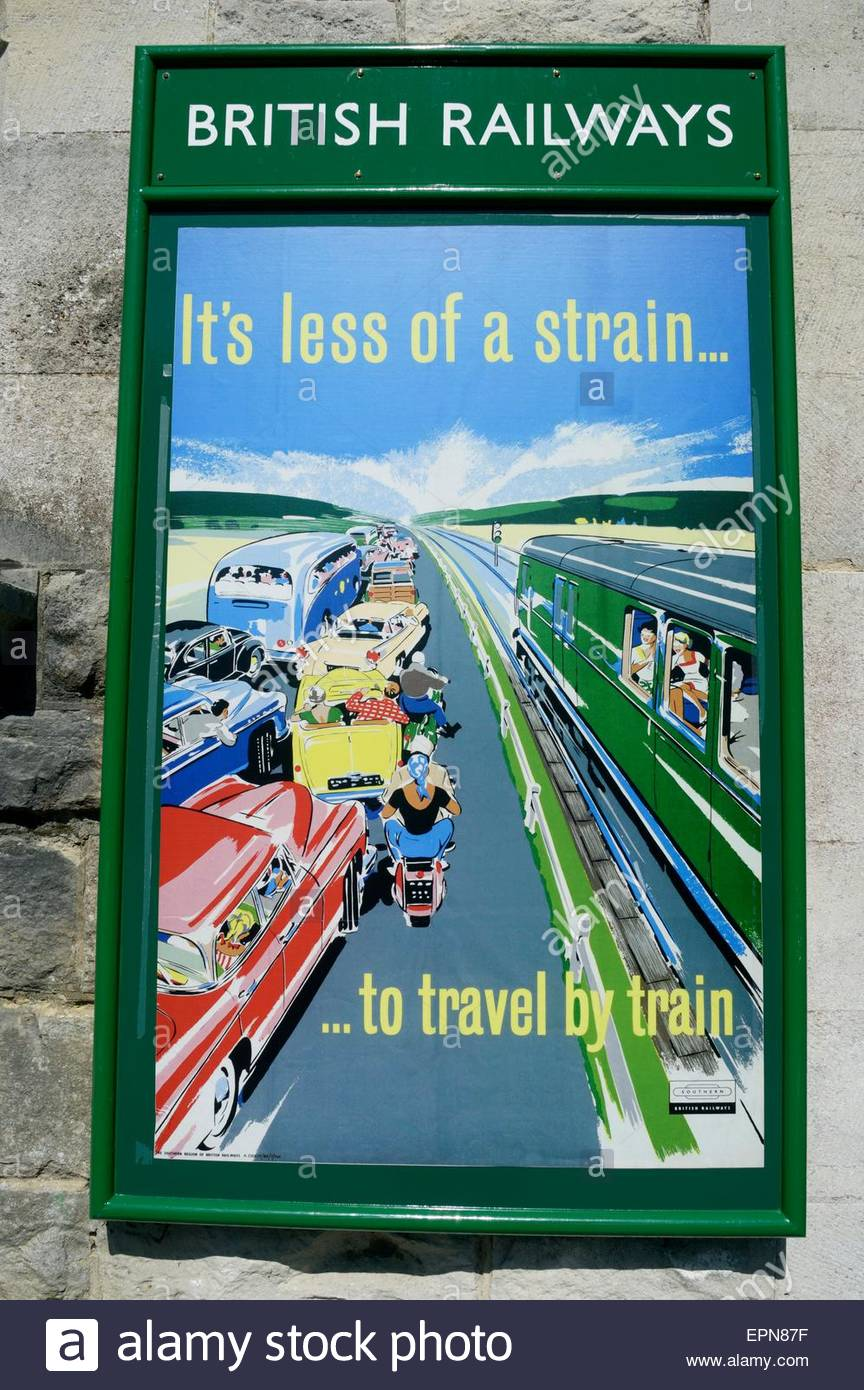 Close-up of an old British Railways poster holder with a poster telling - It's less of a strain...to travel - Stock Image